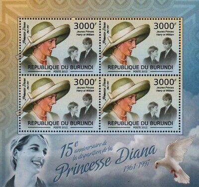DIANA PRINCESS OF WALES (Prince William & Harry) Stamp Sheet (2012 Burundi)