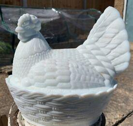 Chicken in a basket ceramic kitchen jar