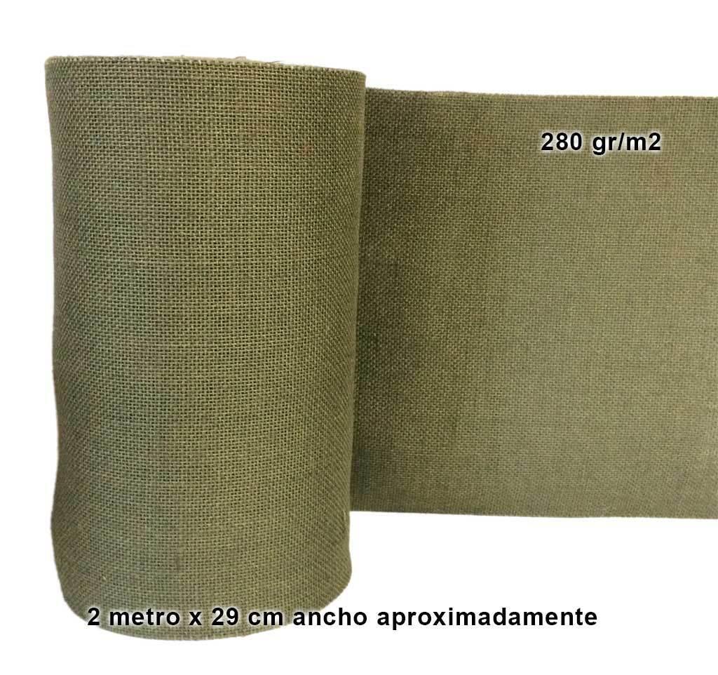 2 M Tela Arpillera Yute 280gr X 29 Cm Verde Kaki Militar Canamo