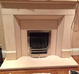 Marble fire surround and gas fire