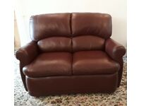 Small chocolate brown Italian leather 2 seater sofa & 2 chairs