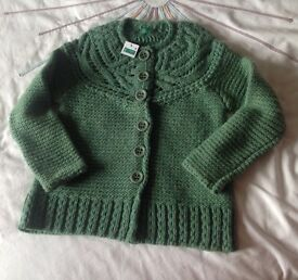 Benetton Green girls cardigan 6 - 7 years - new with tags