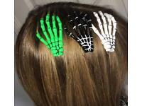 Skeleton Hand Hair Slides 3 colours