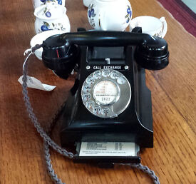 SUPERB 1954 GPO ISSUE MODEL312 TELEPHONE, RESTORED & READY TO PLUG & GO! vintage old