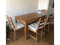 JOKKMOKK dining table 118x74cm and 4 chairs + 4 chair cushions