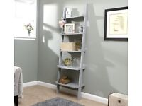 5 Shelf Ladder Bookcase Grey Decorative Ornament Stand Modern Wooden