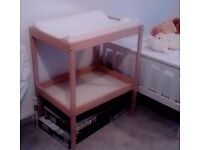 baby changing station, with safety mattress and shelf. Real wood