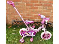 Children's pink unicorn bike with parent handle and stabilisers 2-4 age