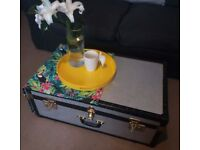 Vintage Large Silver Metallic Trunk - Toy Storage / Chest / Coffee Table