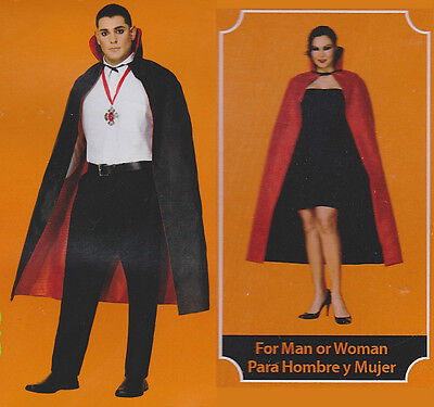 ADULT REVERSIBLE CAPE Costume Black Red Women Men Halloween Dracula Vampire NEW (Dracula Costumes For Women)