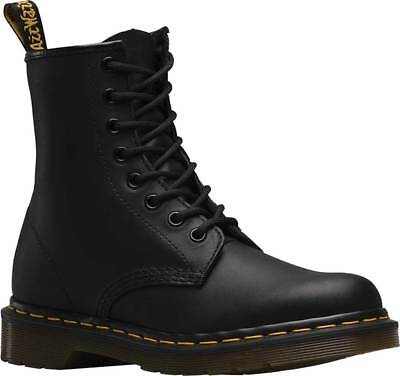 Black Greasy Leather Boot (NEW Mens Dr Martens 1460 8 Eye Black Greasy Smooth Leather Lace Up Boots GENUINE)