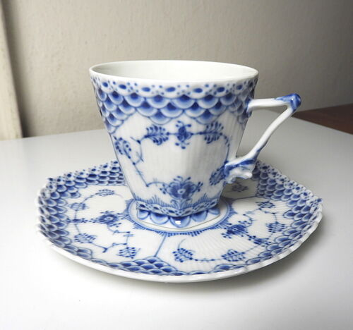 Royal Copenhagen BLUE FLUTED FULL LACE 1036 Gargoyle Cup/Saucer, 1st Qual, MINT