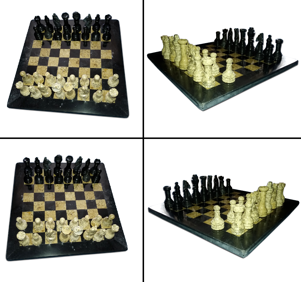 JT HANDMADE MARBLE BLACK AND FOSSIL CORAL CHESS GAME SET WIT