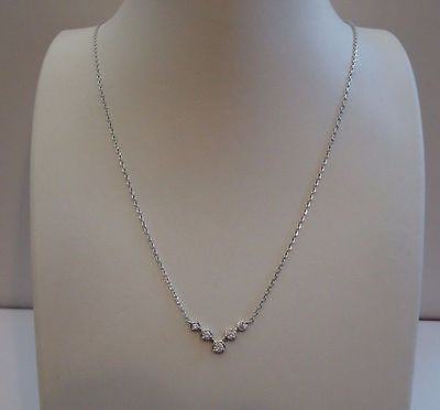 (925 STERLING SILVER V - SHAPE NECKLACE PENDANT W/ .40 CT LAB DIAMOND/ 18'' LONG)