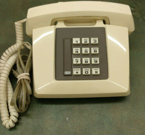 GTE Vintage Corded Desktop Phone push button Model # 37821 Working