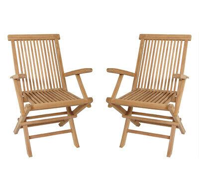 KMH® 2er Set Teak Gartenstuhl mit Armlehnen Klappstuhl Holz Stuhl klappbar 2x