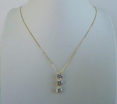 14K YELLOW GOLD LADIES 3 DROP CHAIN NECKLACE PENDANT W/ 3 ct DIAMOND