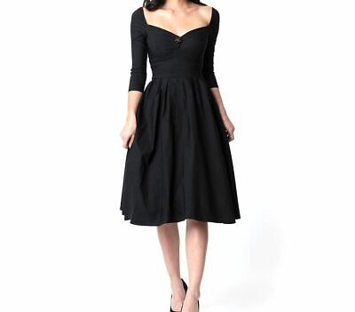 $265 Unique Vintage Womens Black 1950s Style Sweetheart Lamar Swing Dress Size L
