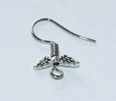 10Pcs Angel Wing Earring Hooks Hypoallergenic Ear Wires Steel Dark Silver Tone