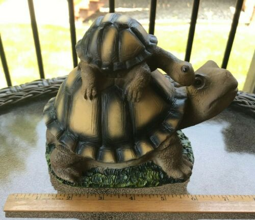 """Turtle Resin Statue Figurine~Father and Son~6.25"""" Long"""