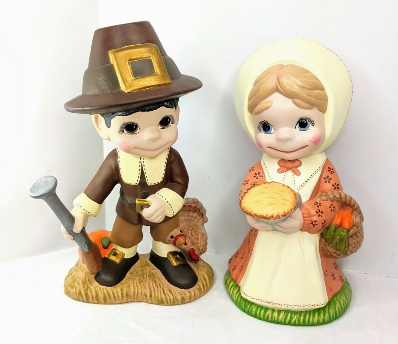 "Vintage Ceramic Pilgrim Pair Stands 13.5"" Tall Hand Painted"