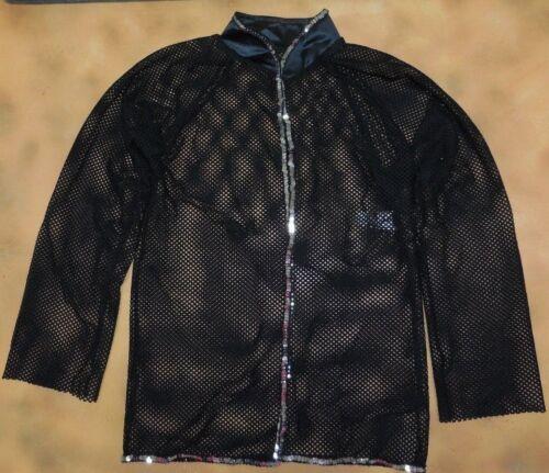 NWOT Black Mesh Long Sleeve Top Silver Sequins Designer Sample Dance Med Child