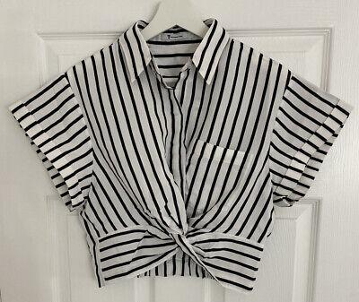 Alexander Wang Black & White Striped Short Sleeve Twist Front Crop Shirt Size 4