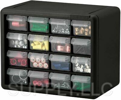 Parts Storage Cabinet 16 Drawer Bins Garage Nuts Bolts Organizer Workshop Office