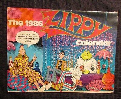 1986 ZIPPY The Pinhead 12 Month CALENDAR GD- No Writing Missing Post (Zippy Calendar)