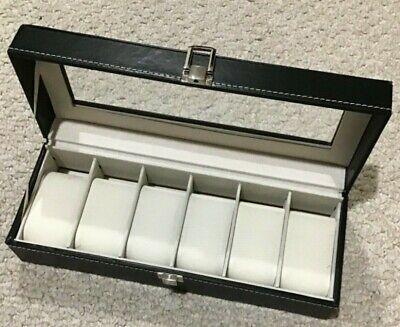Nuevo Cuero Tapa de Cristal Watch-Bracelet Caja (6 Compartimento)