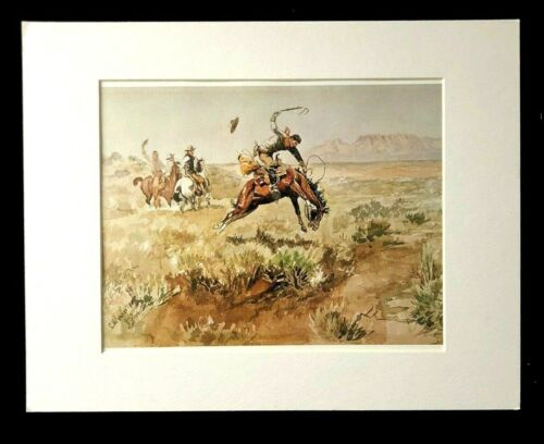 """Charles M Russell """"Bronco Busting"""" 11 x 14 Matted Western Print"""