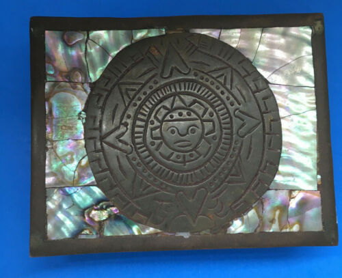 Vintage brass ABALONE hinged footed TRINKET box AZTEC calendar MEXICO stamped