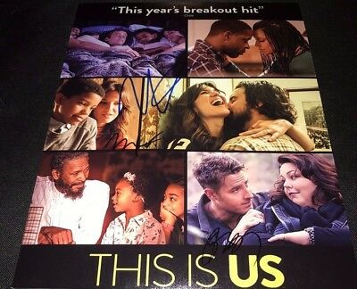 Milo Ventimiglia Mandy Moore Justin Hartley This Is Us Signed 11X14 Photo Coa