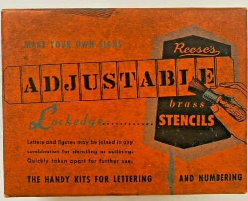 Vintage Reeses Adjustable Brass Stencils The Handy Kit Lettering and Numbering