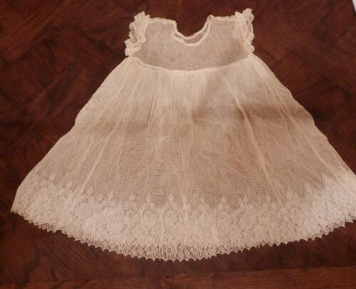 ANTIQUE VICTORIAN ? FISHNET LACE BABY/DOLL OVERDRESS