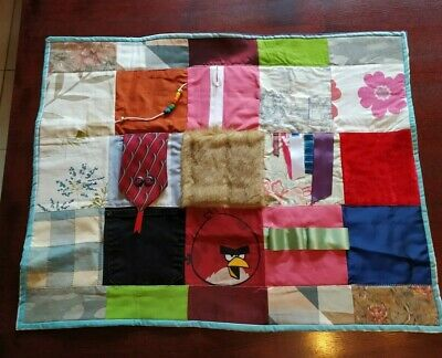 Hand Crafted Washable Sensory Fidget Fiddle Quilt Blanket for Dementia