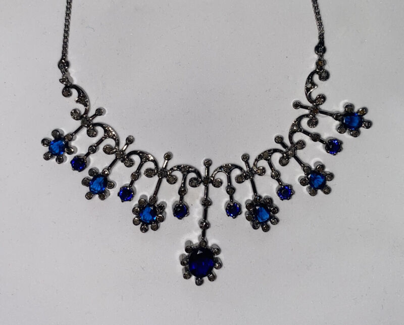 Antique Victorian Sterling Silver Diamond Necklace