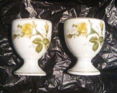 2 Egg Cups Vintage Single Holder Yellow Rose Floral Flower White Porcelain Japan