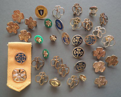 GSA Vintage-Now Huge Lot GIRL SCOUTS Rank Pins BROWNIE DAISY Service LEADER BD19