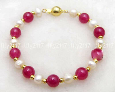 - Beautiful Natural 6-7mm White Pearl&8mm Rose Pink Jade Gems beads Bracelet 7.5''