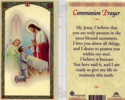 Communion Prayer Holy Card Boys First Communion Day Catholic Laminated - Communion Prayer Holy Card