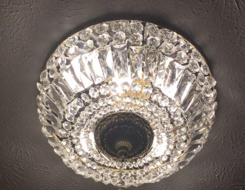 """Vintage French Flush Mount Crystal Beaded Chandelier Basket Brass 18"""" 6 Light"""