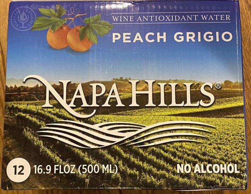 Napa Hills Peach Grigio Wine Antioxidant Water 12pk Case FREE SHIPPING!