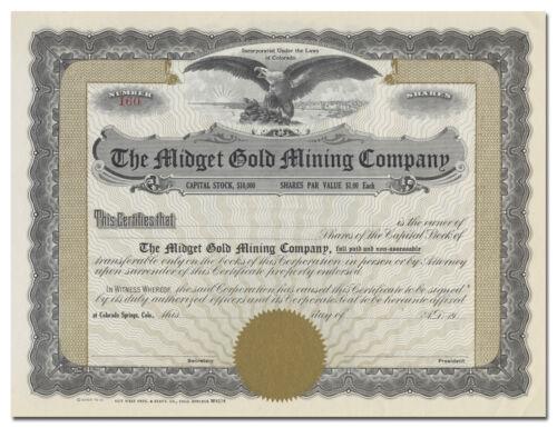Midget Gold Mining Company Stock Certificate