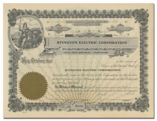 Byington Electric Corporation Stock Certificate (California)