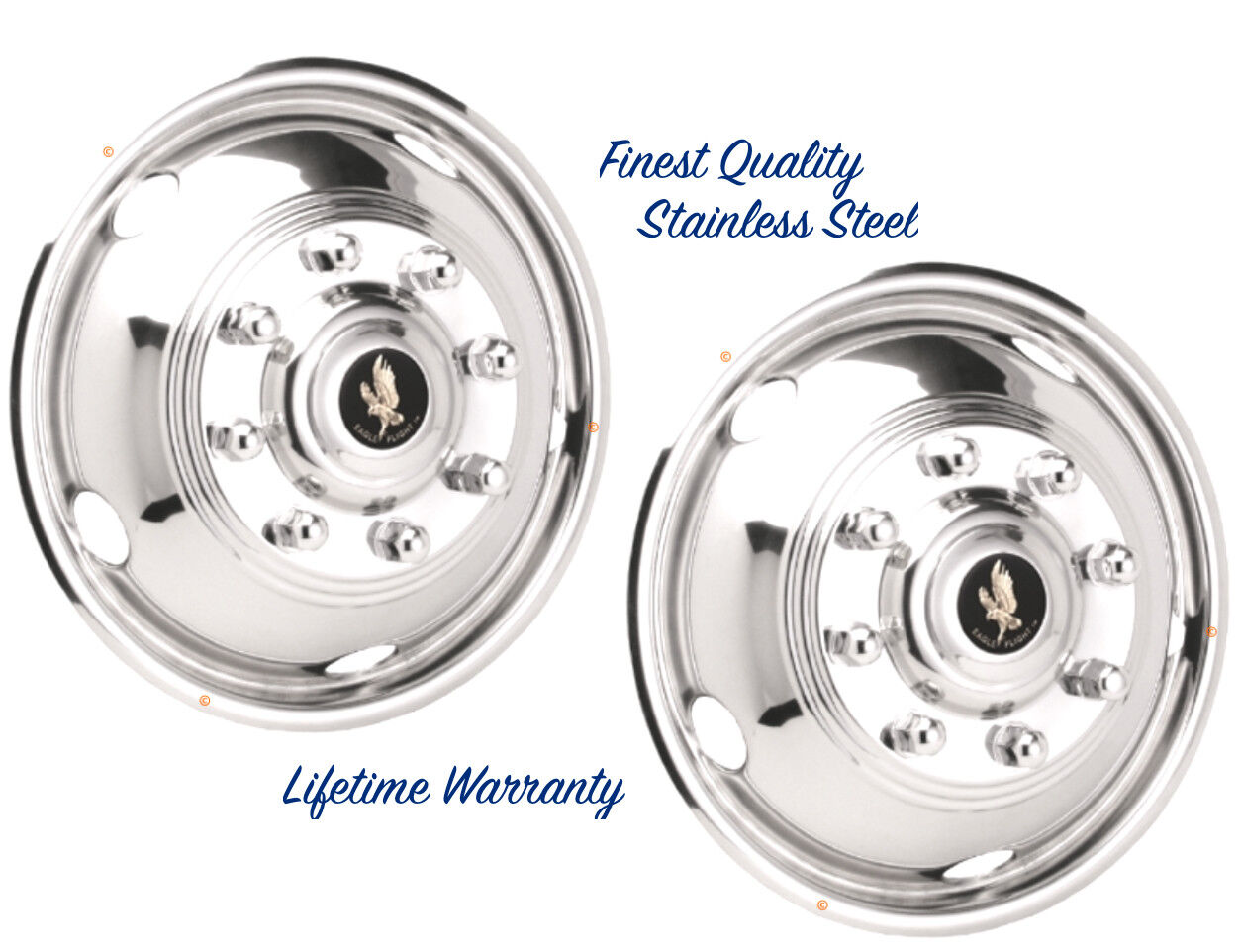"19.5"" FORD F53 8 LUG 99-2002 STEEL WHEEL SIMULATOR RIM LINER HUBCAP COVERS TWO ©"
