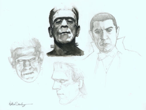 Nathan Szerdy Signed Original Universal Monsters Art Sketch Frankenstein Dracula
