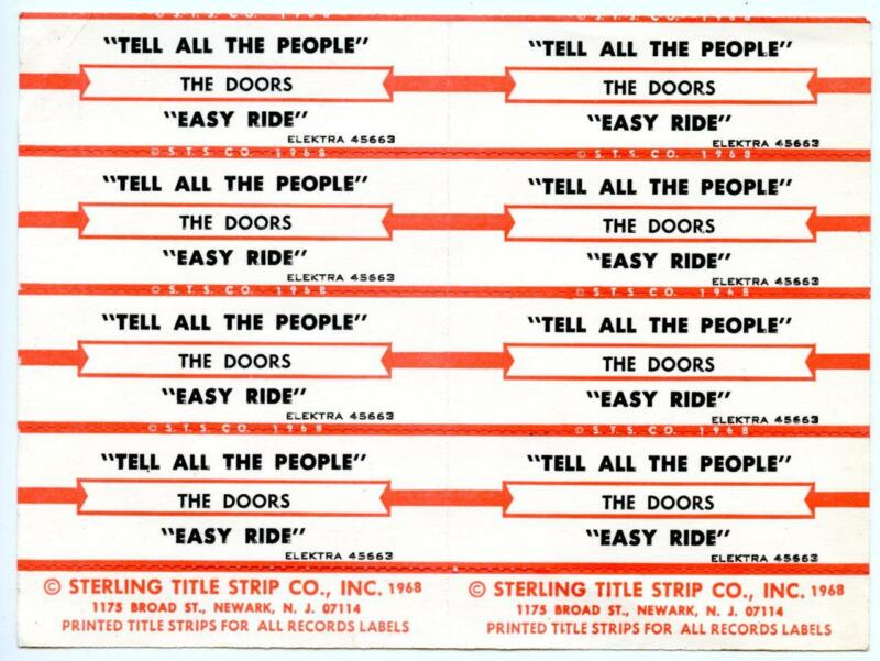 1968 The Doors Jukebox Title Strips Label Card Tell All The People Easy Ride