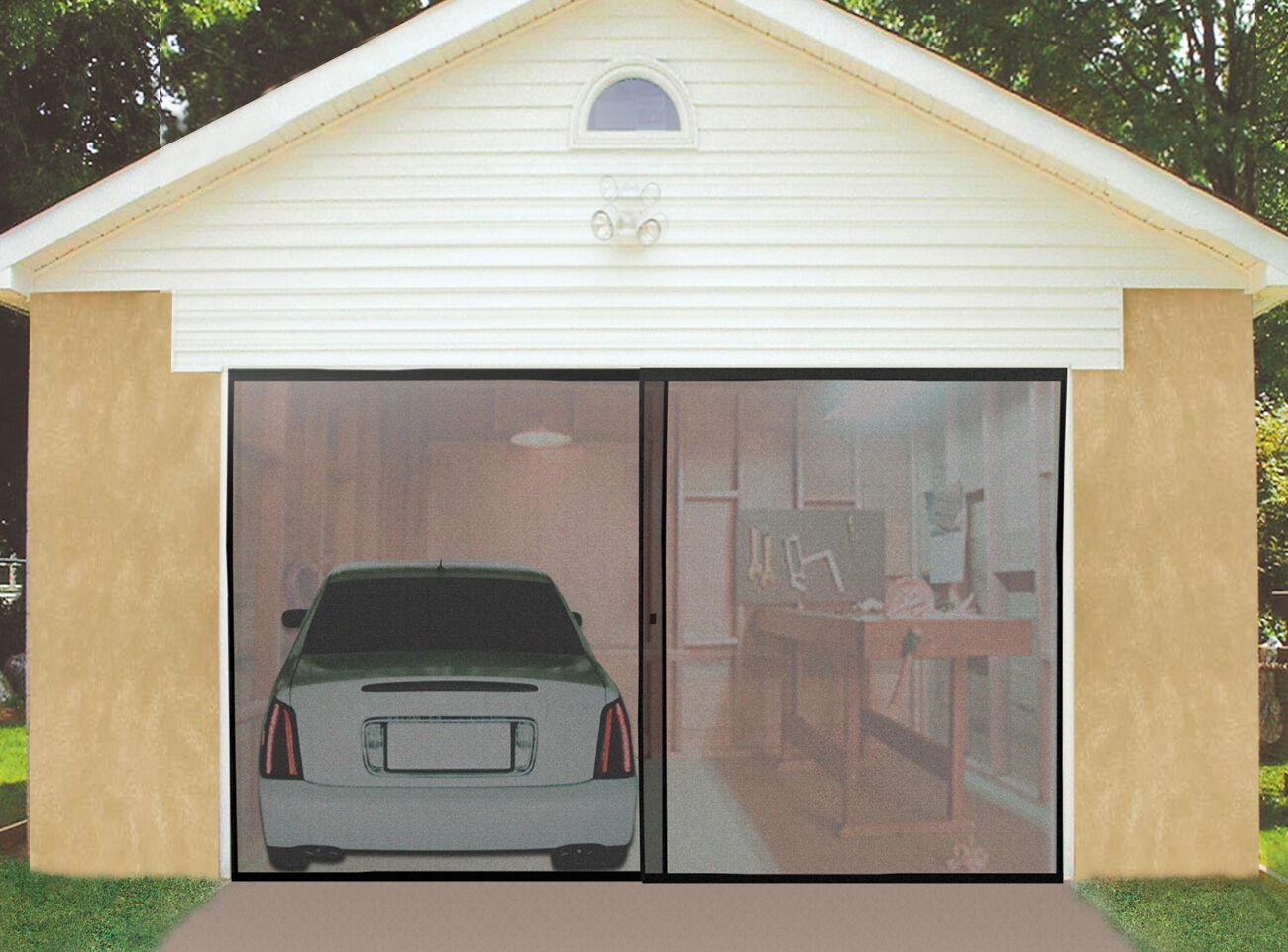 deluxe double garage door screen black magnetic closure. Black Bedroom Furniture Sets. Home Design Ideas