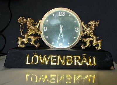 Vintage 1980's Lowenbrau Lion Lighed Clock Miller Brewing Milwaukee Wis. Works